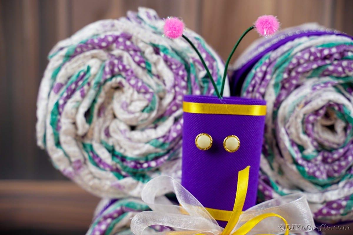 Purple body of diaper cake butterfly