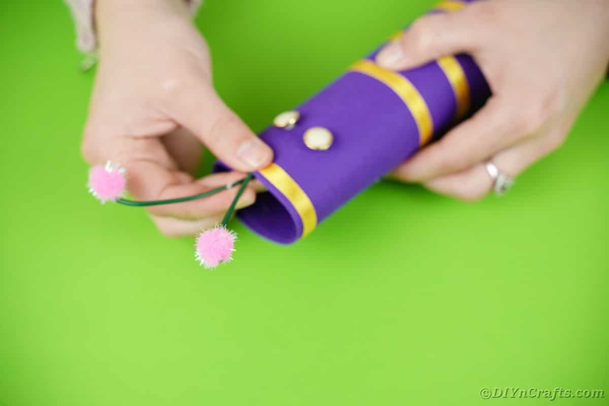 Gluing antennae onto top of butterfly body