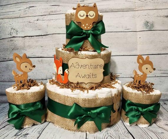 3 Tier Diaper Cake and mini 3 piece set Adventure Awaits | Etsy