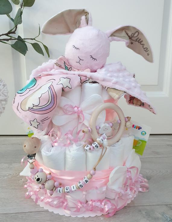 Diaper cake XXL cuddly toy cute bunny pacifier chain & | Etsy