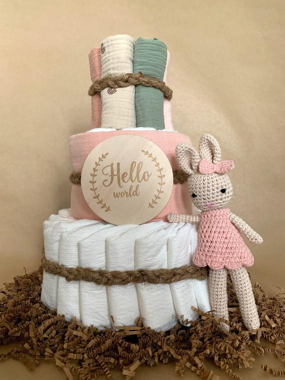 Baby Shower Diaper Cake Gift Topped with Crochet Pink Bunny | Etsy