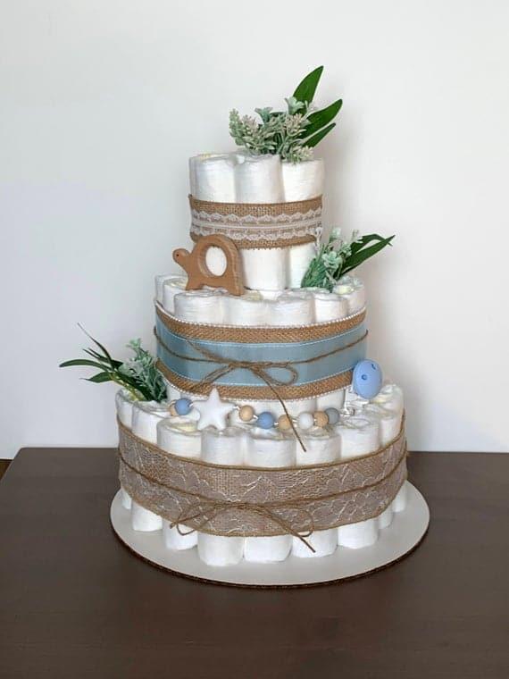 Handmade Diaper Cake Jute Diaper Cake Burlap Diaper Cake | Etsy