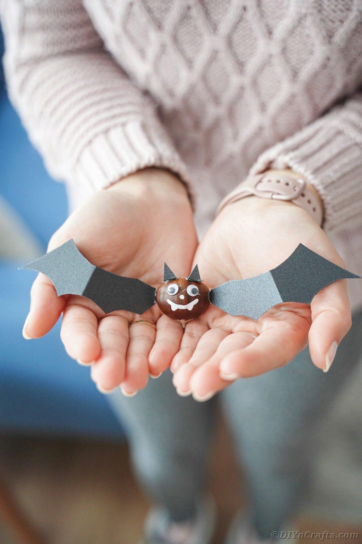 Woman holding chestnut bat in hands