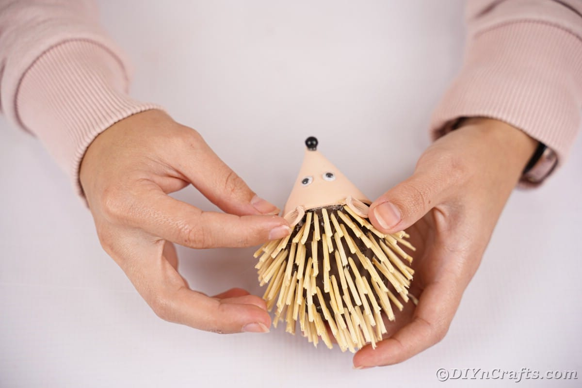 Hand holding ears in place on foam hedgehog