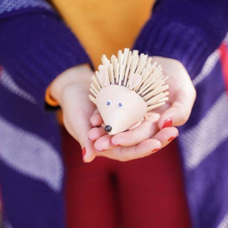 Rustic Foam Hedgehog Easy Kids Fall Craft