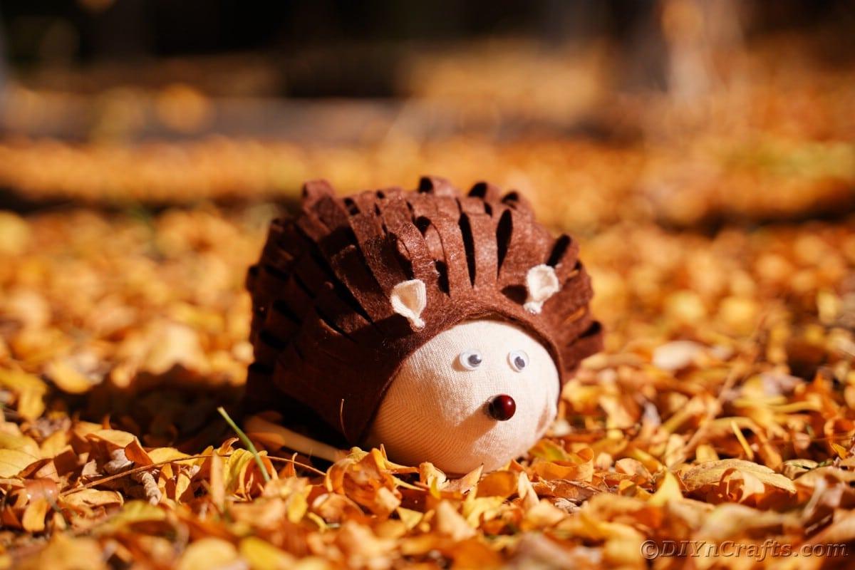 Fabric hedgehog on pile of leaves