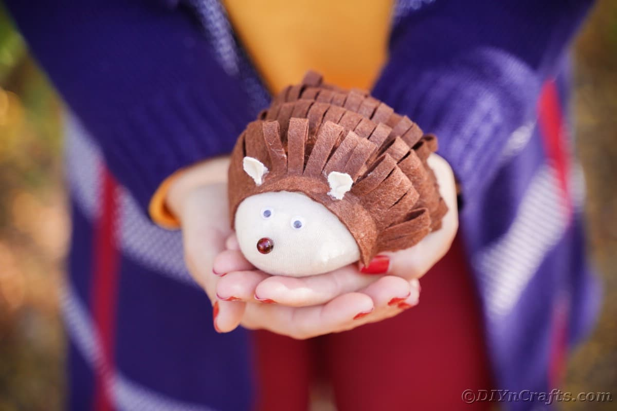 Woman in navy blue jacket holding stuffed hedgehog toy in her hands