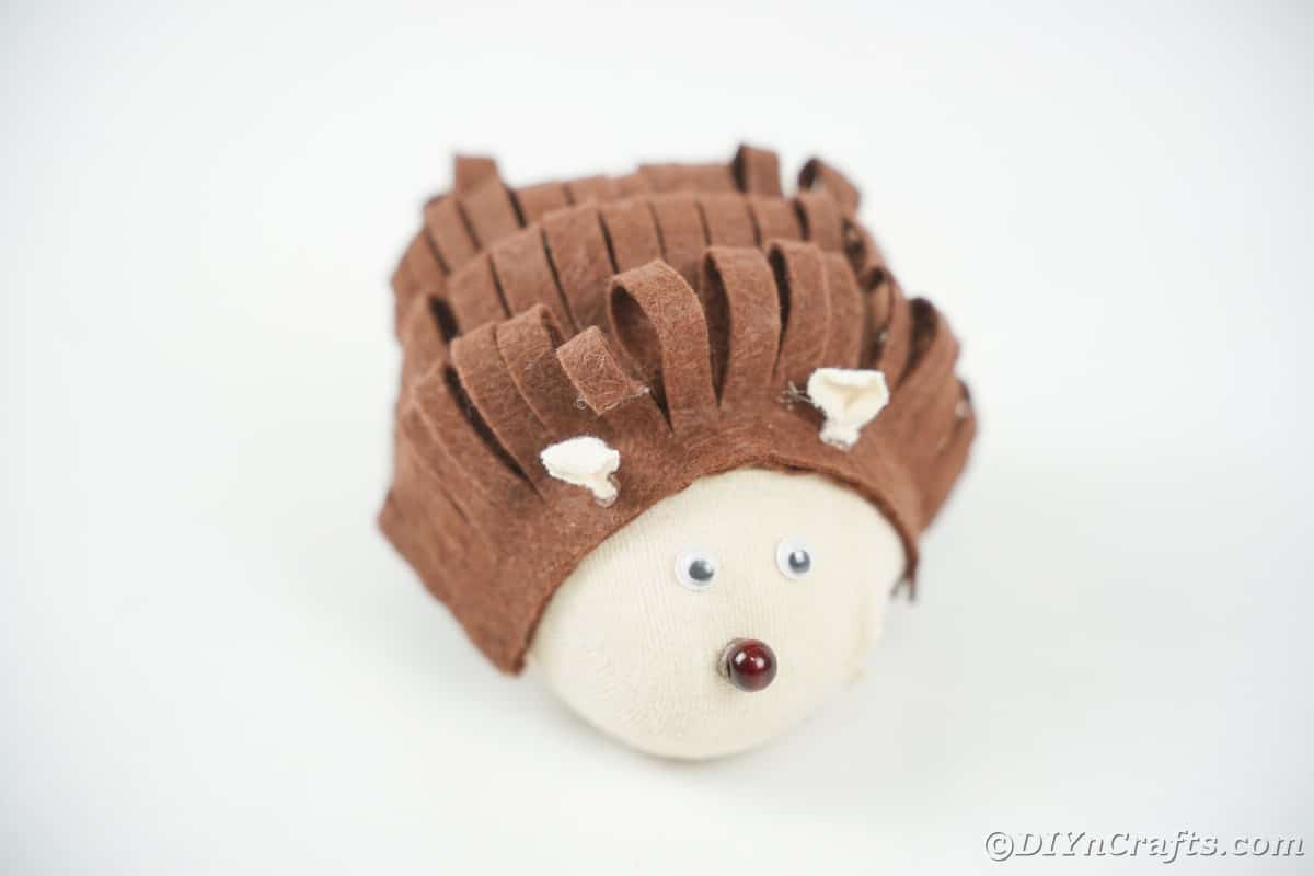 No sew fabric hedgehog on white table