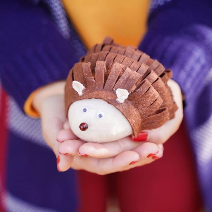 Woman in orange shirt holding fake stuffed hedgehog