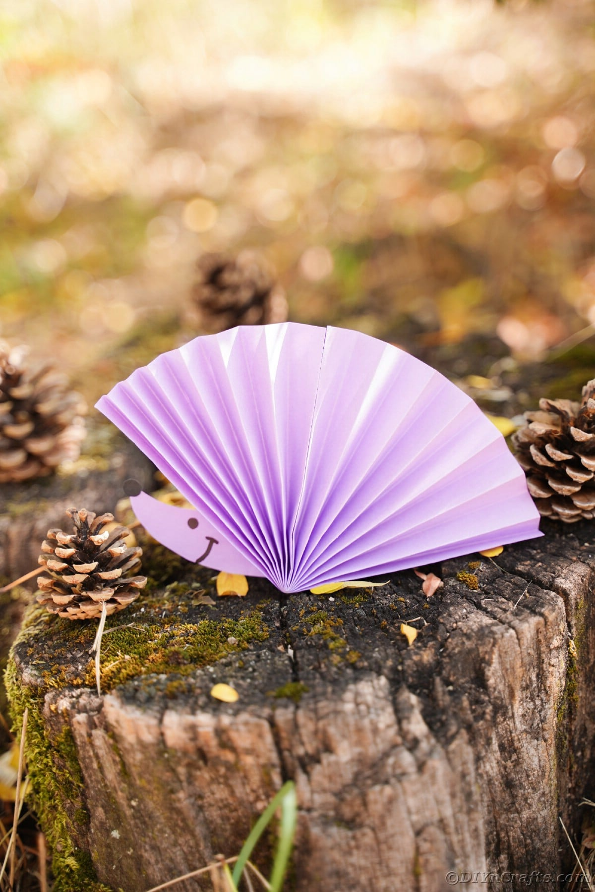 Purple fan with hedgehog face sitting on top of wooden stump