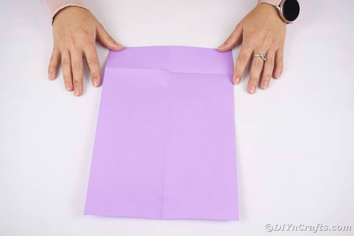 Hands holding purple paper