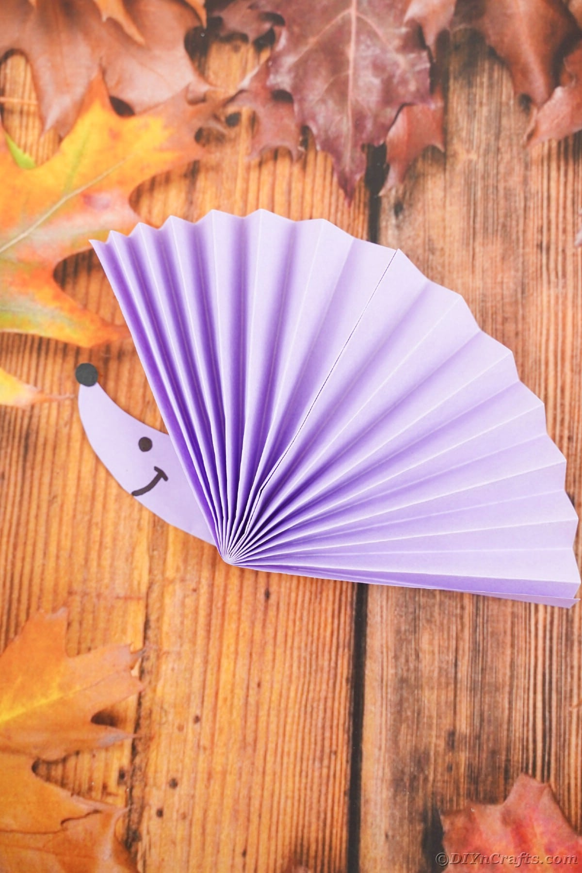 Paper fan with hedgehog face on wooden surface