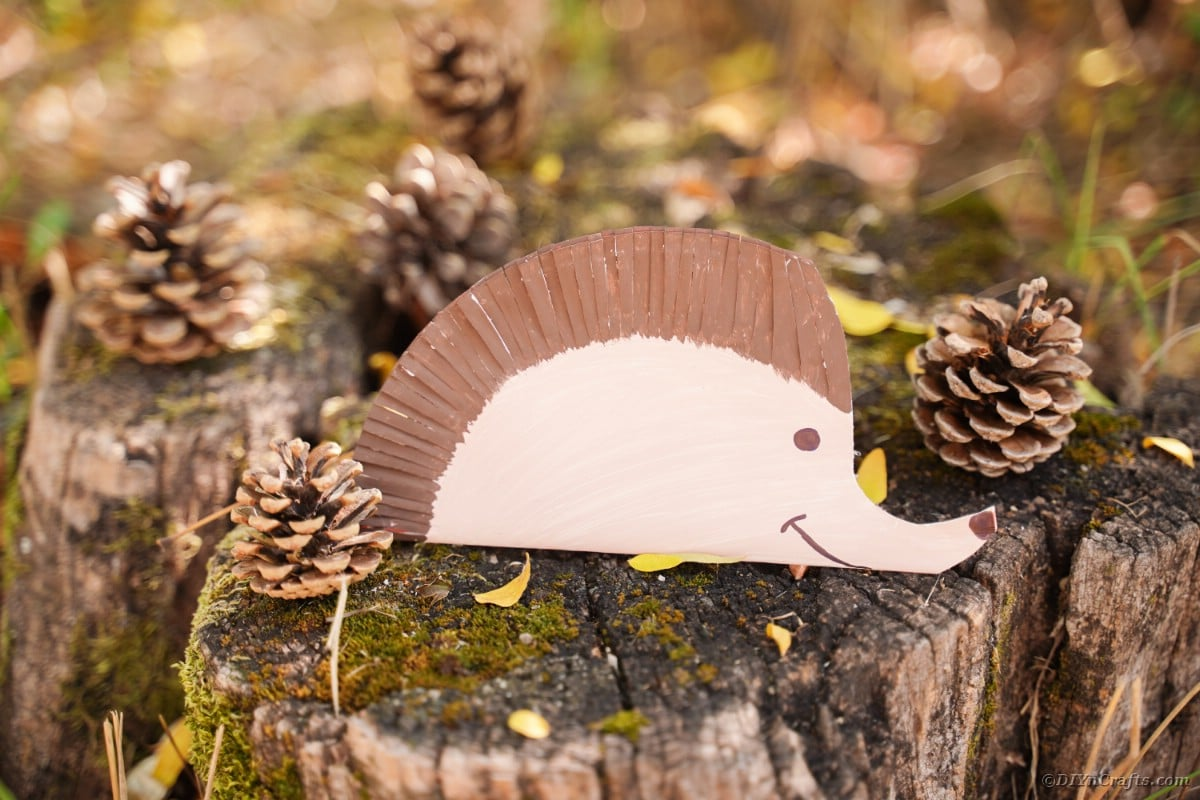 Stump with pinecones and paper hedgehog decoration