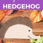 Paper plate hedgehog on wood table with purple banner saying how to make paper plate hedgehog