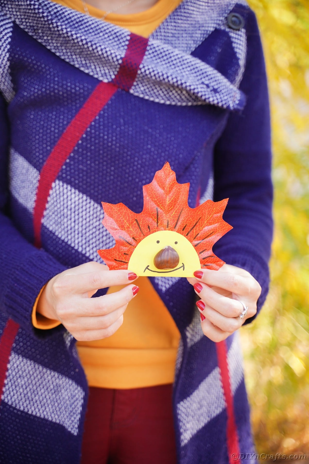 Woman in blue sweater holding fake leaf with smiling face