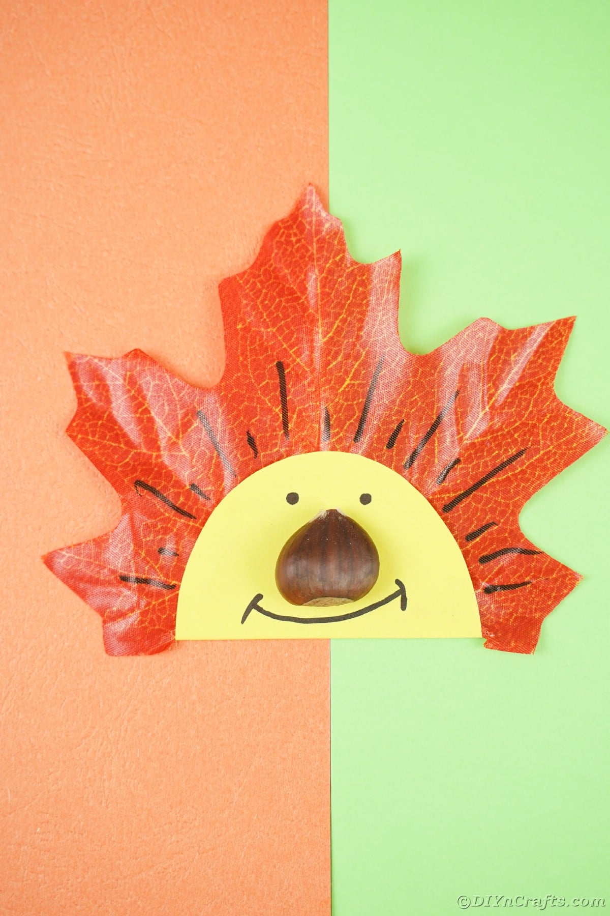Smiling face on fake leaf laying on orange and green paper
