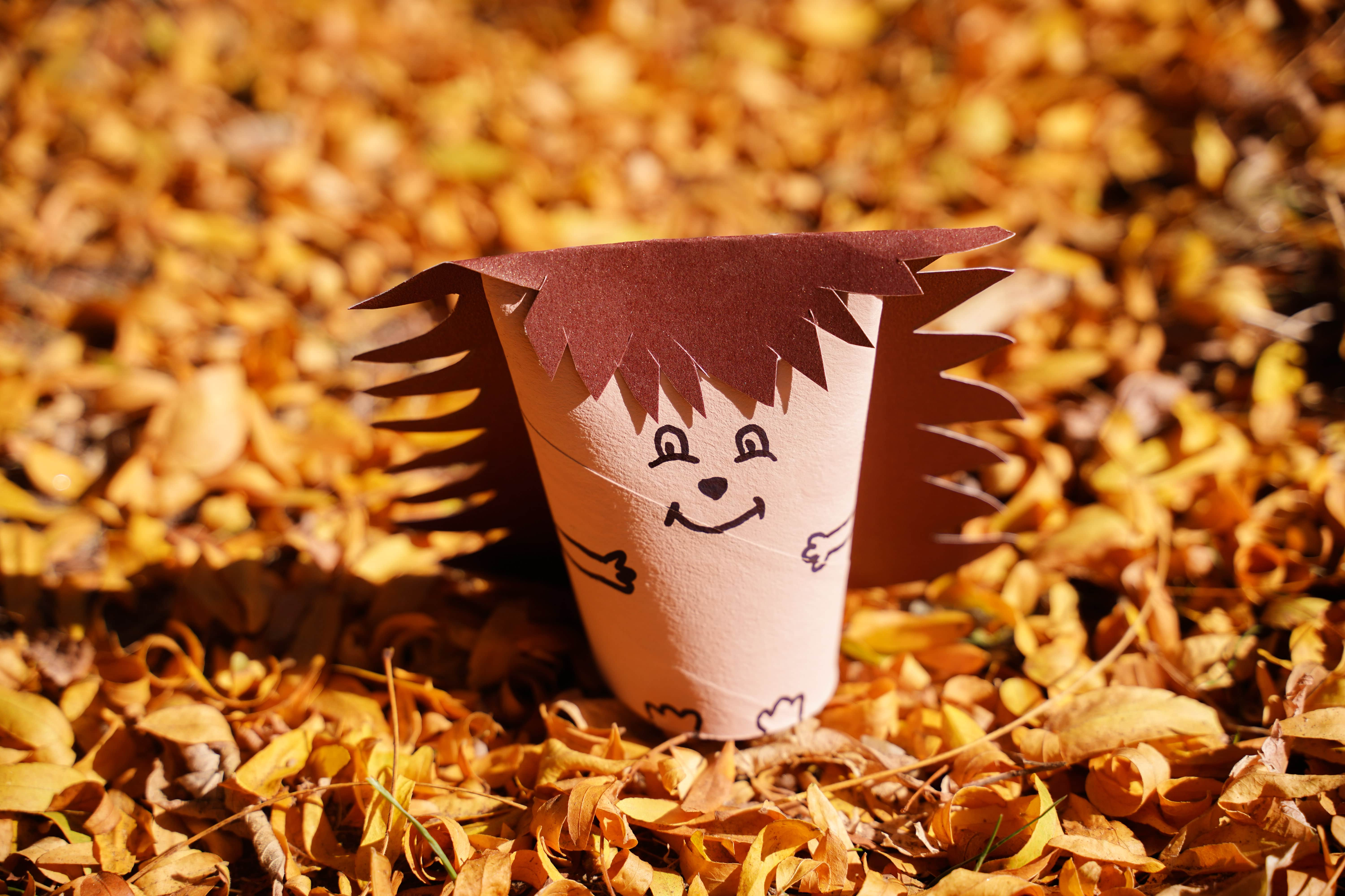 Paper roll hedgehog on yellow leaves