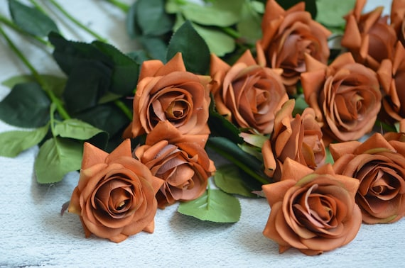 Burnt Orange Real Touch Silk Roses DIY Silk Bridal Bouquets | Etsy