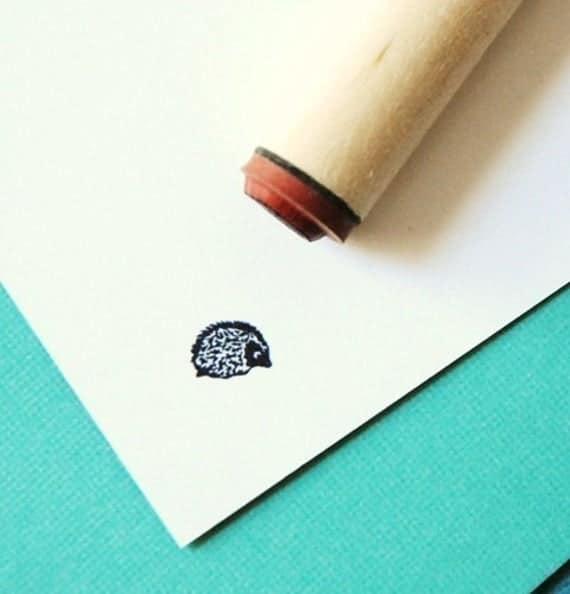 Hedgehog Rubber Stamp | Etsy