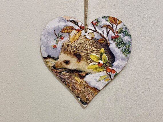 Winter Hedgehog 15cm decoupaged wooden heart plaque / | Etsy
