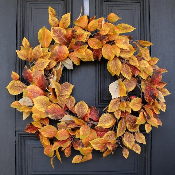 Golden Yellow & Brown Birch Leaf Fall Front Door Wreath | Etsy