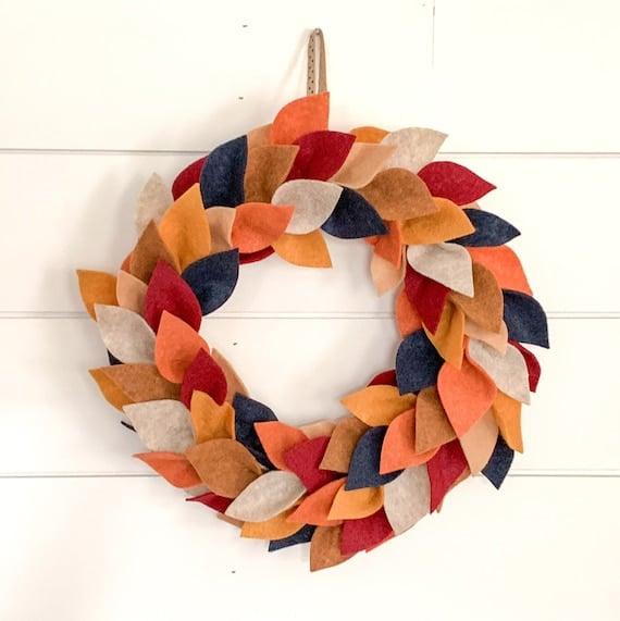 Felt Leaf Fall Wreath Handmade with Felt Leaves for Autumn | Etsy