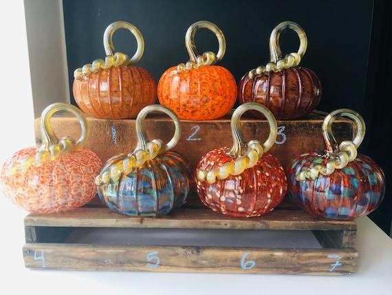 Assorted orange hand blown glass pumpkins with golden stems | Etsy