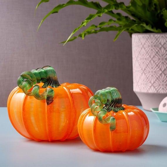 Classic Orange Glass Pumpkins | Etsy
