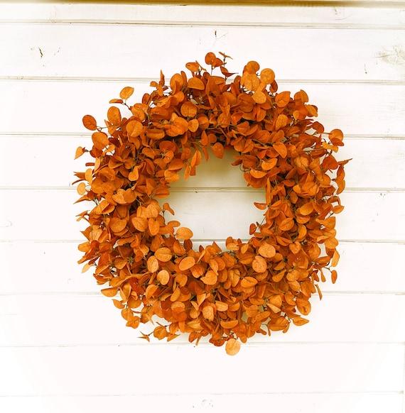 Fall Wreath-Farmhouse Wreath-Fall Door Wreath-RUST PENNY LEAF | Etsy