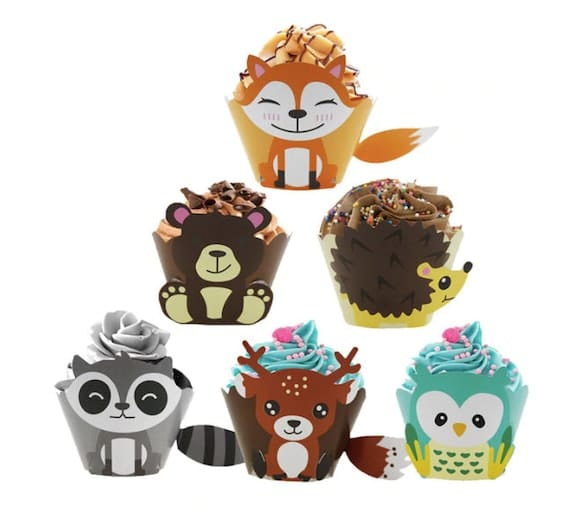 Woodland Creature Cupcake Wrappers Set of 12   Etsy