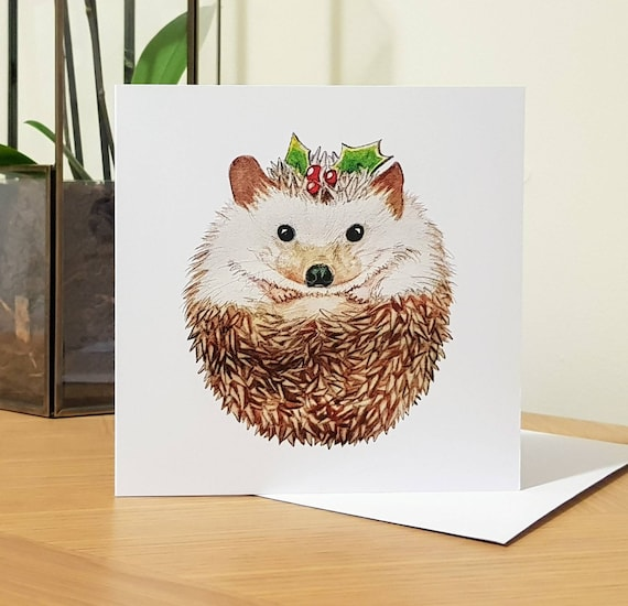 Holly Hedgehog Christmas Pudding Blank Inside Greeting Card   Etsy