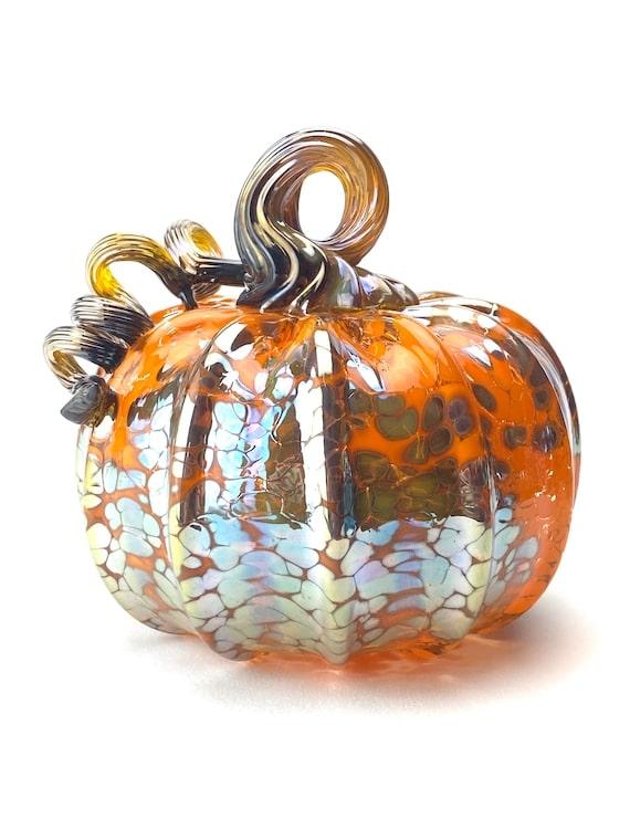 Handblown Gold metallic Orange Pumpkin | Etsy