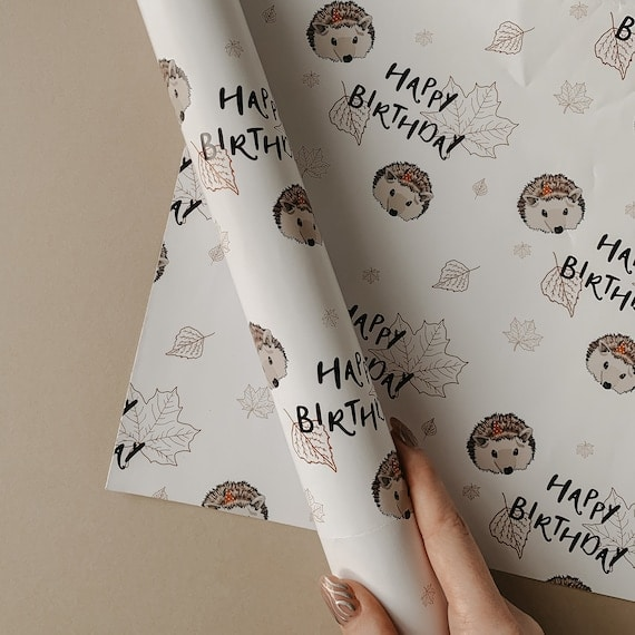 Woodland Hedgehog Birthday Wrapping Paper & Gift Tag / Gift | Etsy