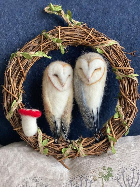 Owl Wreath/Barn Owls/Barn Owl Ornament/Needle Felted Owls/Xmas   Etsy