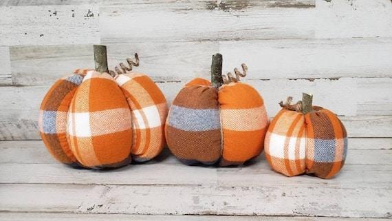 Orange and Navy Plaid Fabric Pumpkins Handmade Halloween | Etsy