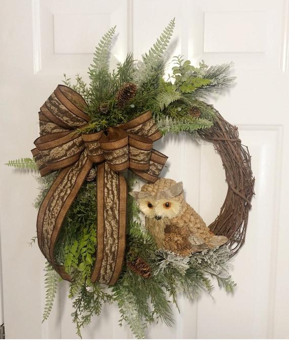 Winter Wreath Owl Wreath Front Door Wreath Owl Decorations   Etsy