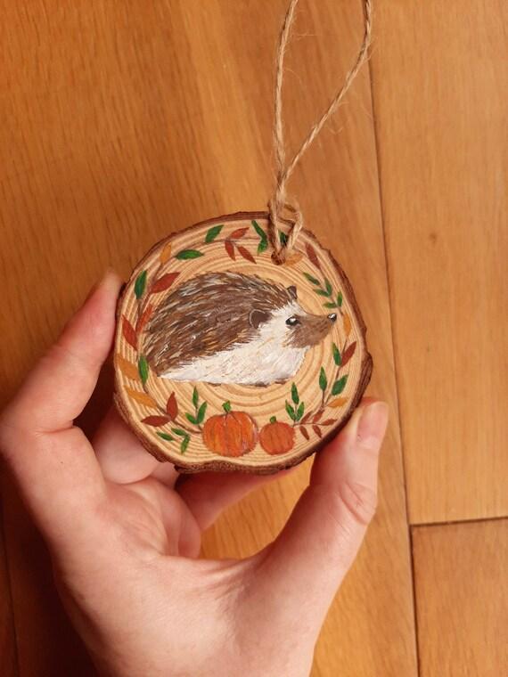 Hand Painted hedgehog Hanging Decoration Wood Slice | Etsy