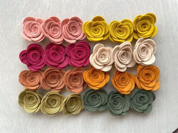 Felt posies / FALL ROSE PARTY / felt flowers / mini & small / | Etsy