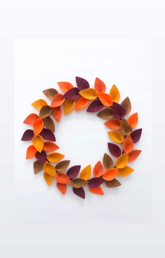 Fall Wreath for Front Door / Fall Felt Leaf Wreath / | Etsy