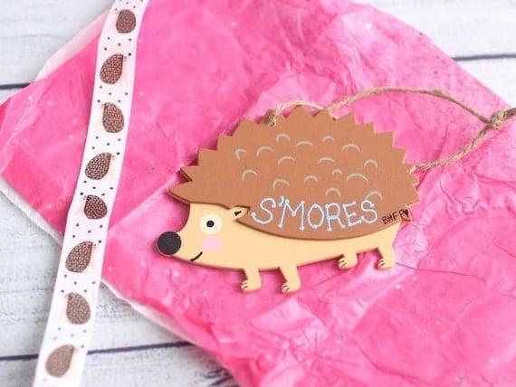 Hedgehog Cage Tag / Hutch Tag / Hedgehog Ornament / Wooden | Etsy
