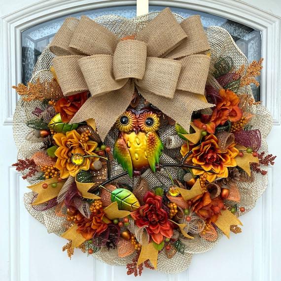 Owl Wreath Fall Owl Wreath Fall Wreath Rustic Owl Wreath   Etsy