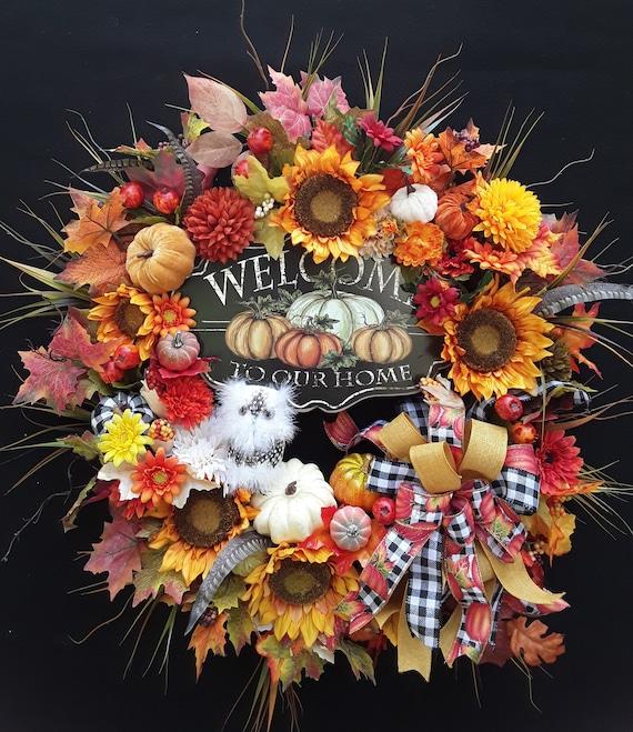 Lg. Country Chic Primitive Autumn Fall Thanksgiving Owl Farm   Etsy