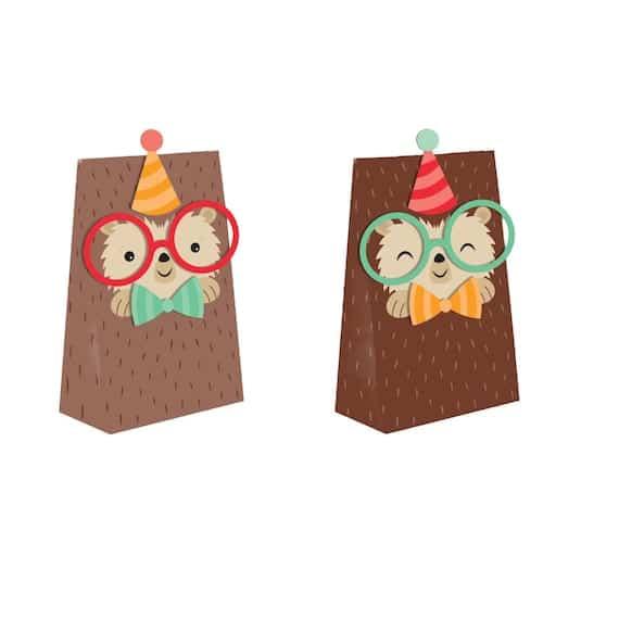 8 pack Hedgehog party paper treat bags Hedgehog birthday | Etsy
