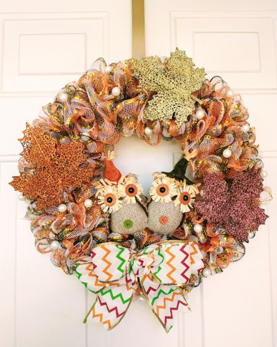 Fall Owl Wreath   Etsy