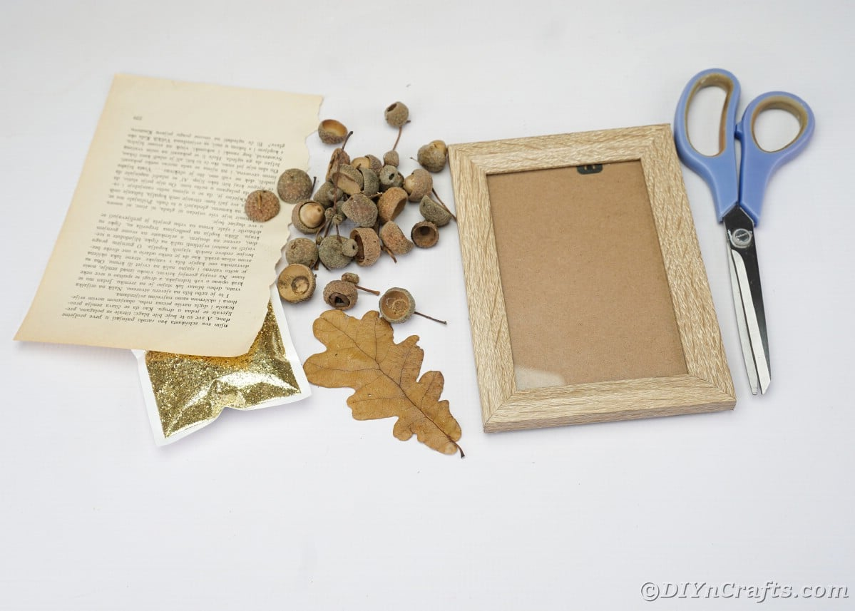 Picture frame, acorn caps, old book pages, leaf, glitter and scissors on white table