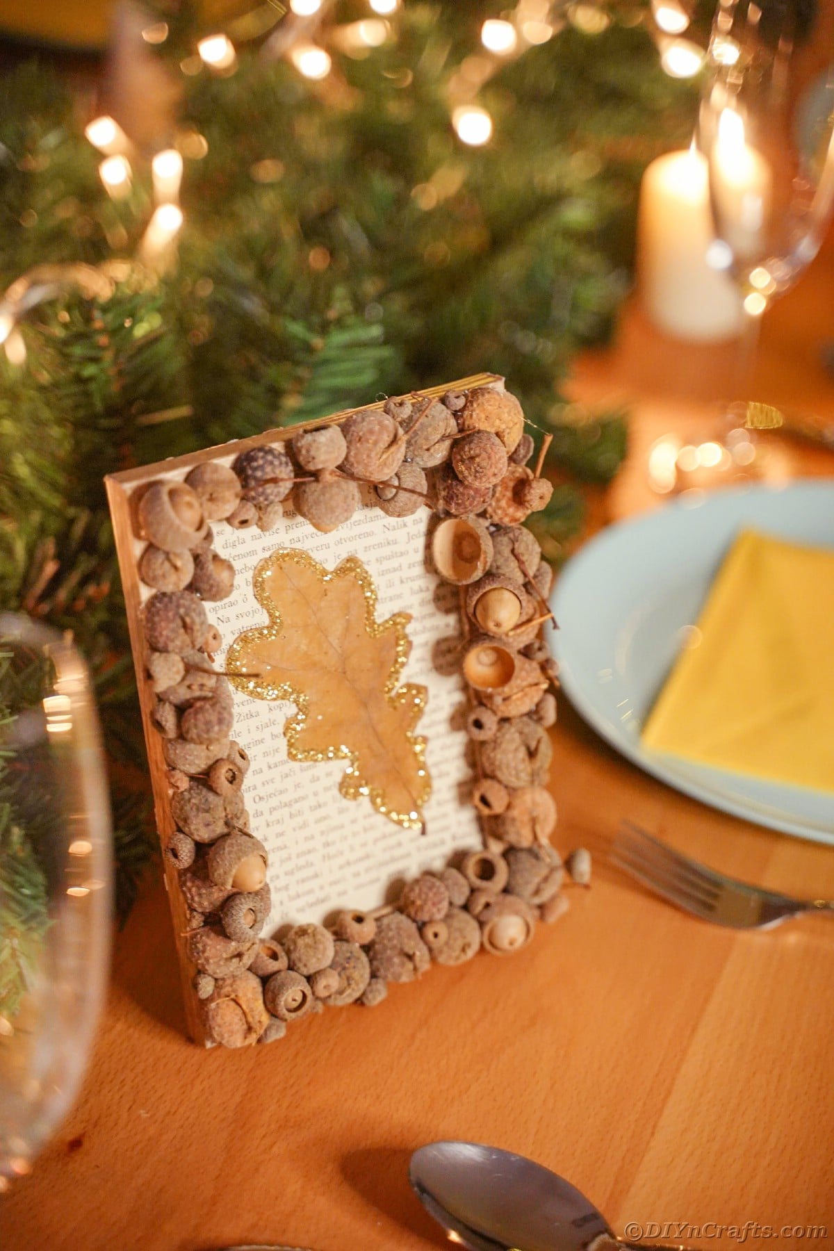 Rustic picture frame on table by place settings