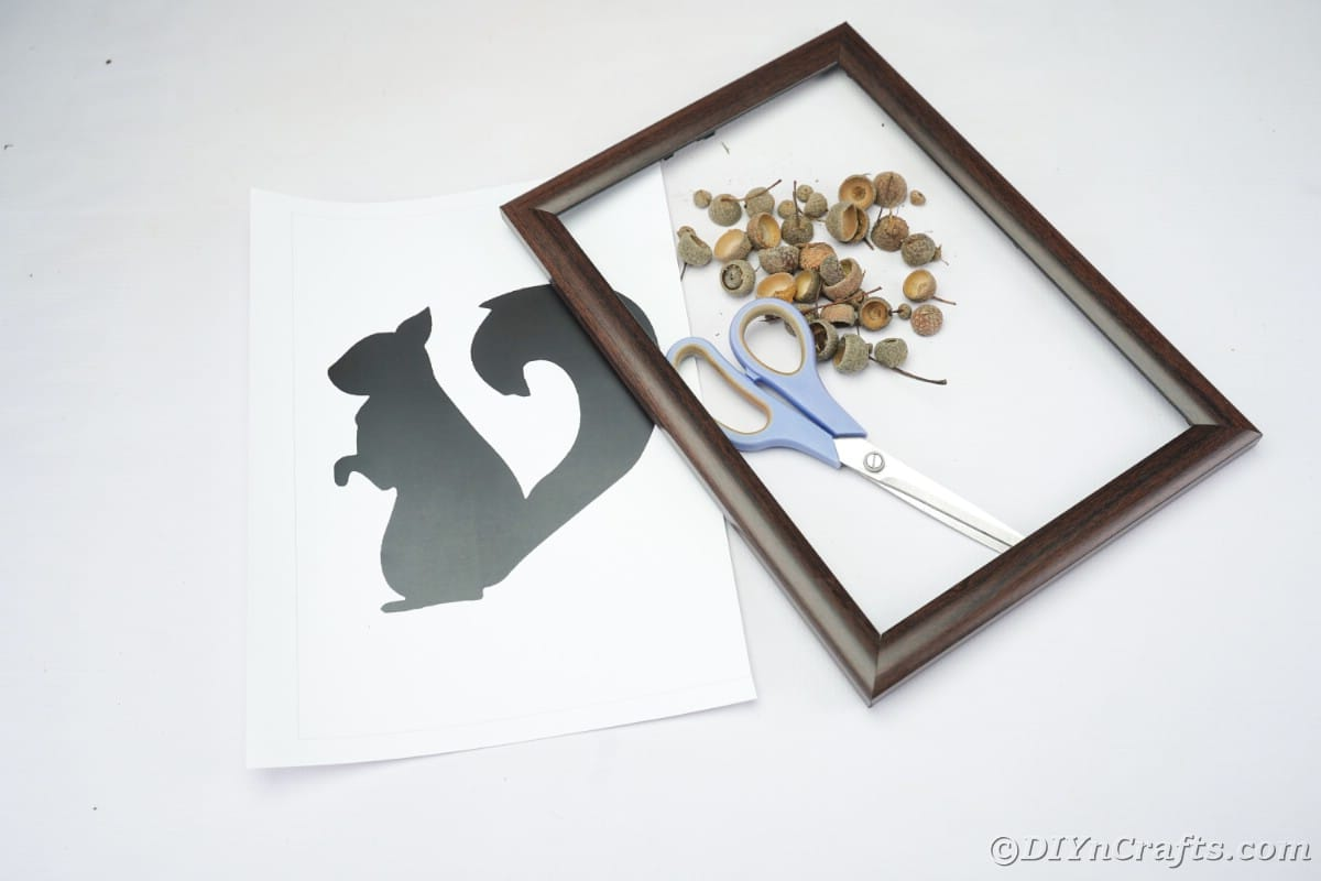 Picture frame, acorn caps, scissors, and template for squirrel on white table