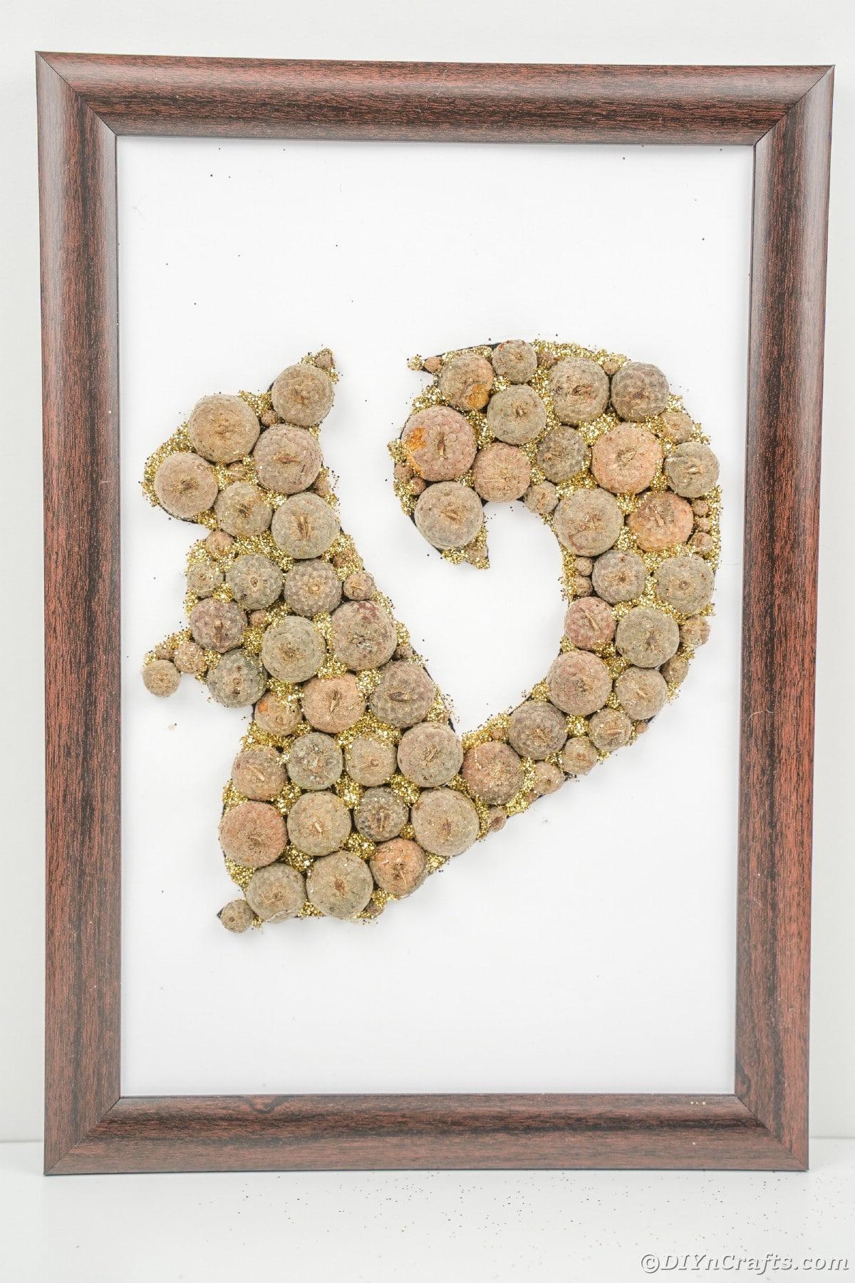 Wooden frame around acorn cap squirrel