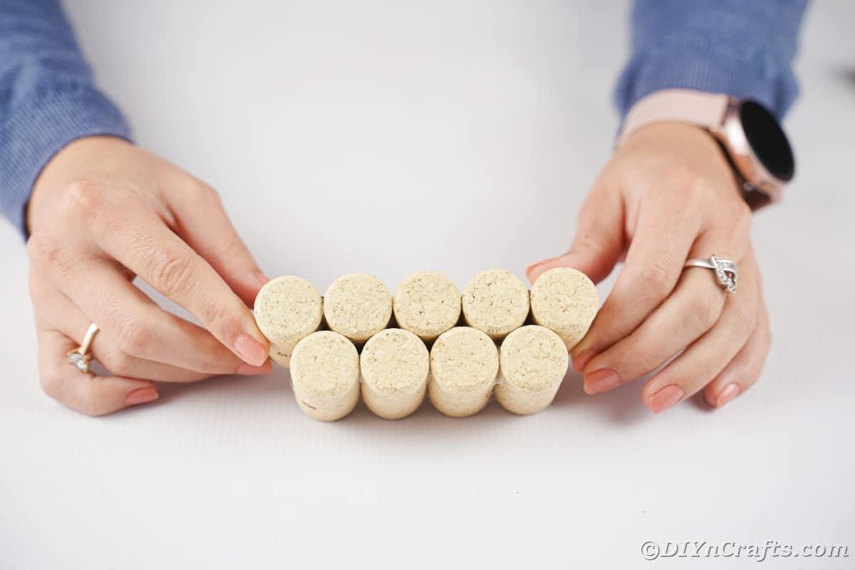 two stacks of cork glued together