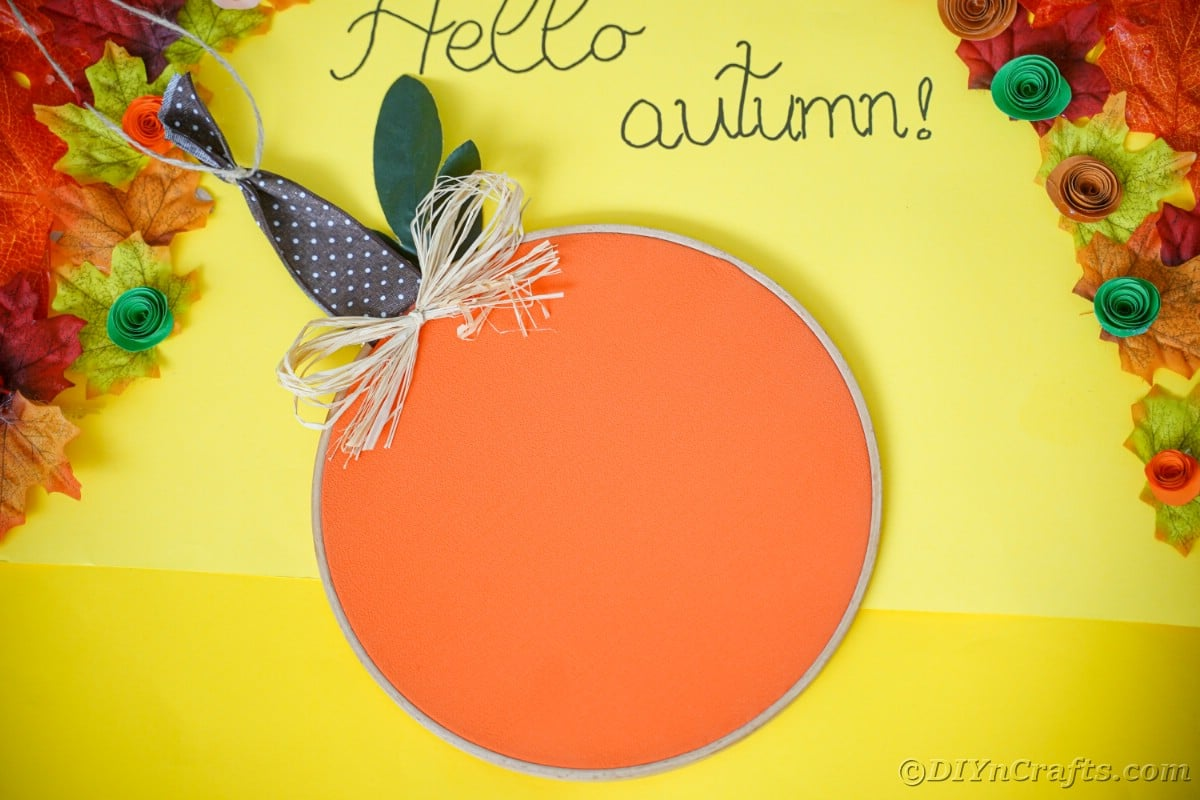 yellow paper with an autumn message with a lettering on the inside
